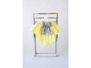 Sukňa s vlečkou nežná žltá/sivá