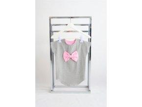 FunnyBunny predĺžené tričko s mašľou - sivá