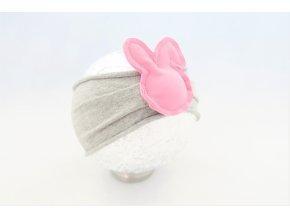 Pískacia čelenka zajková sivá/púdrovo ružová