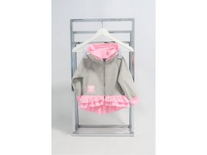 Pískacia krátka bundička sivá/ružový volán