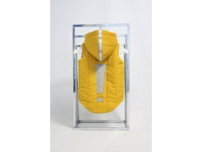Zateplená pískacia vesta s výkričníkom horčica/sivá