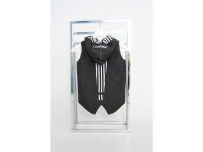 Šušťáková podšitá pískacia vesta s výkričníkom čierna