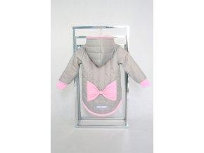 Prešívaná zimná bunda s mašľou sivá