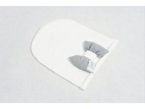 Pískacia bábo čiapka  s mašľou biela/sivá