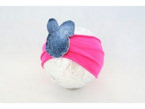 Pískacia bábo čelenka zajková jasný cyklamén/riflová