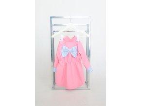 Pískací softshellový sťahovací kabátik s mašľou ružová/pásik modrá