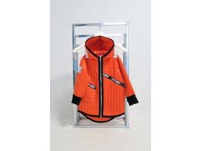 Jarná pískacia bunda s krížikom červený pomaranč/čierna