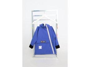 Pískací softshellový kabátik so šikmým zipsom kráľovská modrá