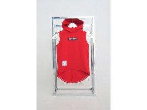 Pískacia tepláková vesta červená