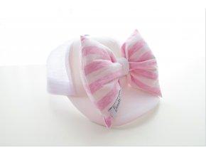 Šiltovka s mašľou - biela/ružový pásik