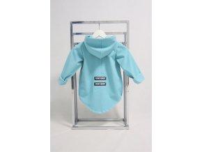 Pískací softshellový kabátik aqua