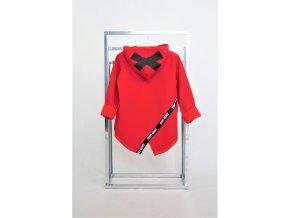 Pískací softshellový kabátik červený s čiernou páskou