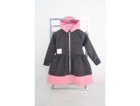 Flaušový kabátik tmavosivá/ružová