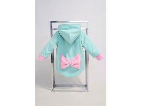 Zimná bunda s mašľou mint/baby ružová