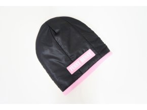 Zimná pískacia čiapka čierna/baby ružová