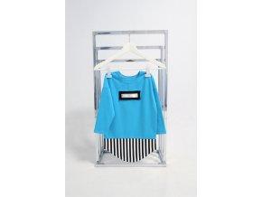 FunnyBunny predĺžené tričko dlhý rukáv tyrkys/pásik