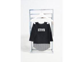 FunnyBunny predĺžené tričko dlhý rukáv čierna/pásik