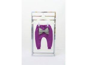 Pískacie tepláky s mašľou a páskami Funny Bunny - purpur