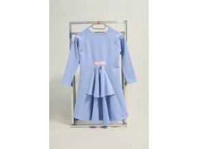 Pískacie španielske šaty s dlhým rukávom - nebíčkovo modrá