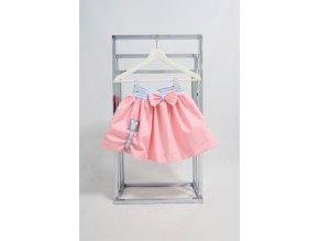 Pískacia balóniková sukňa ružová/modrý pásik
