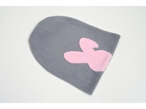 Pískacia flisová čiapka sivá/baby ružová