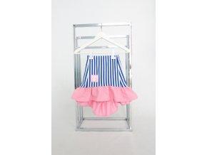 Pískacia sukňa s volánom pásik modrá/baby ružová
