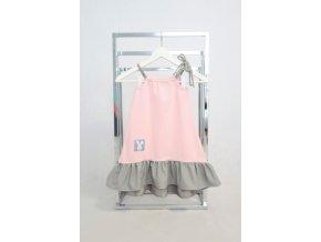 Pískacie šaty s volánom wedding ružová/sivá
