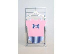 FunnyBunny predĺžené pískacie tričko baby ružová/pásik modrá