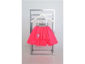 Pískacia extra riasená sukňa neónová ružová