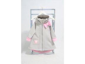 Pískací softshellový kabátik sv.sivá//baby ružová