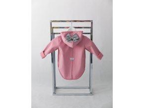 Pískací softshellový kabátik s mašľou ružová/sivá