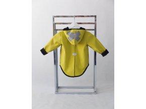 Pískací softshellový kabátik s krížikom žlto-zelená/sivá