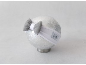 Pískacia bábo čelenka biela/sivá
