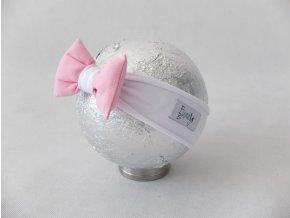 Pískacia bábo čelenka biela/baby ružová