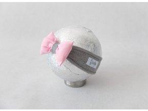 Pískacia bábo čelenka sivá/baby ružová