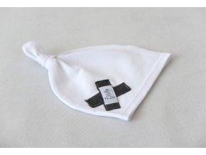 Pískacia bábo uzlíková čiapka biela/sivá