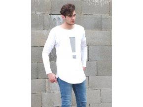 Pánske tričko s pískacím výkričníkom - biela