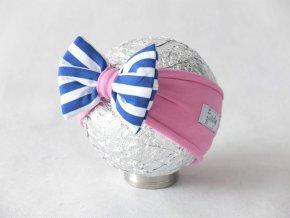 Pískacia čelenka jogurtovo ružová/modrý pásik