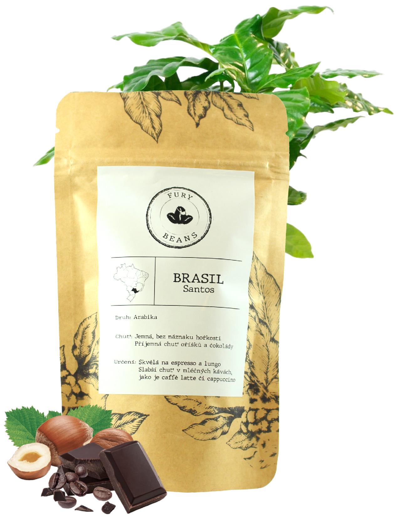 Fury beans Brazílie - Santos Váha: 250g, Způsob mletí: zrnková káva
