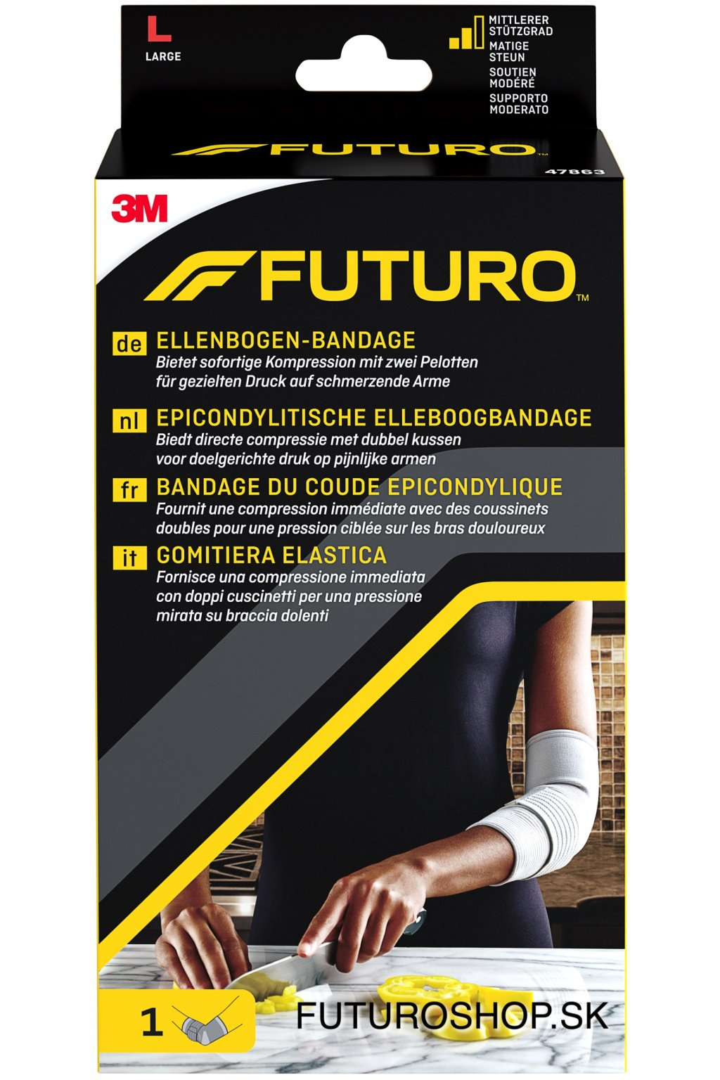 3M FUTURO lakťová bandáž s epikondylárnou páskou 47863, veľkosť L