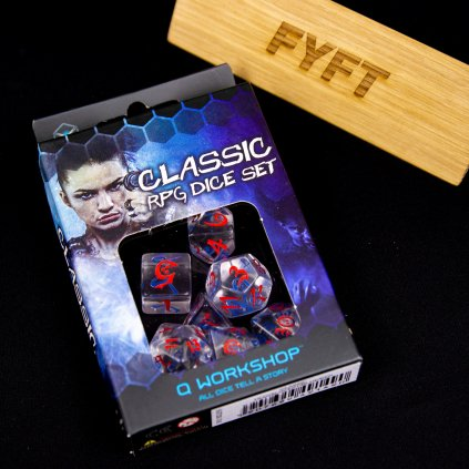 Classic RPG Translucent & blue-red Dice Set (7 kostek)