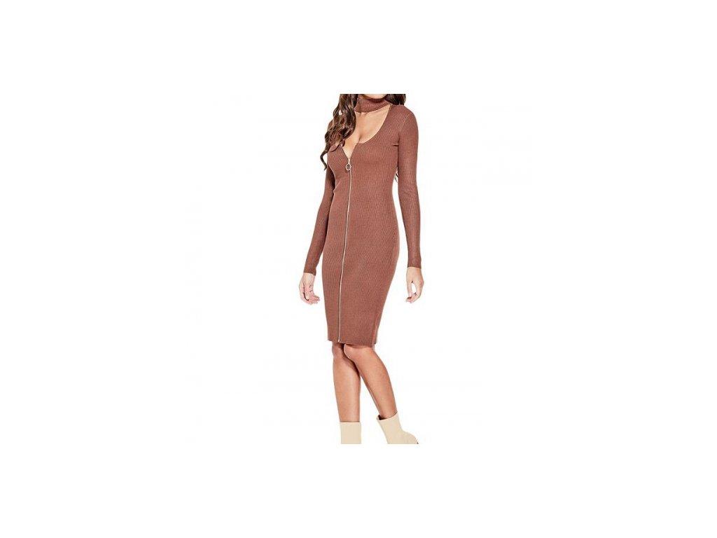 Šaty G by Guess Hannah Choker Sweater Dress skořicové