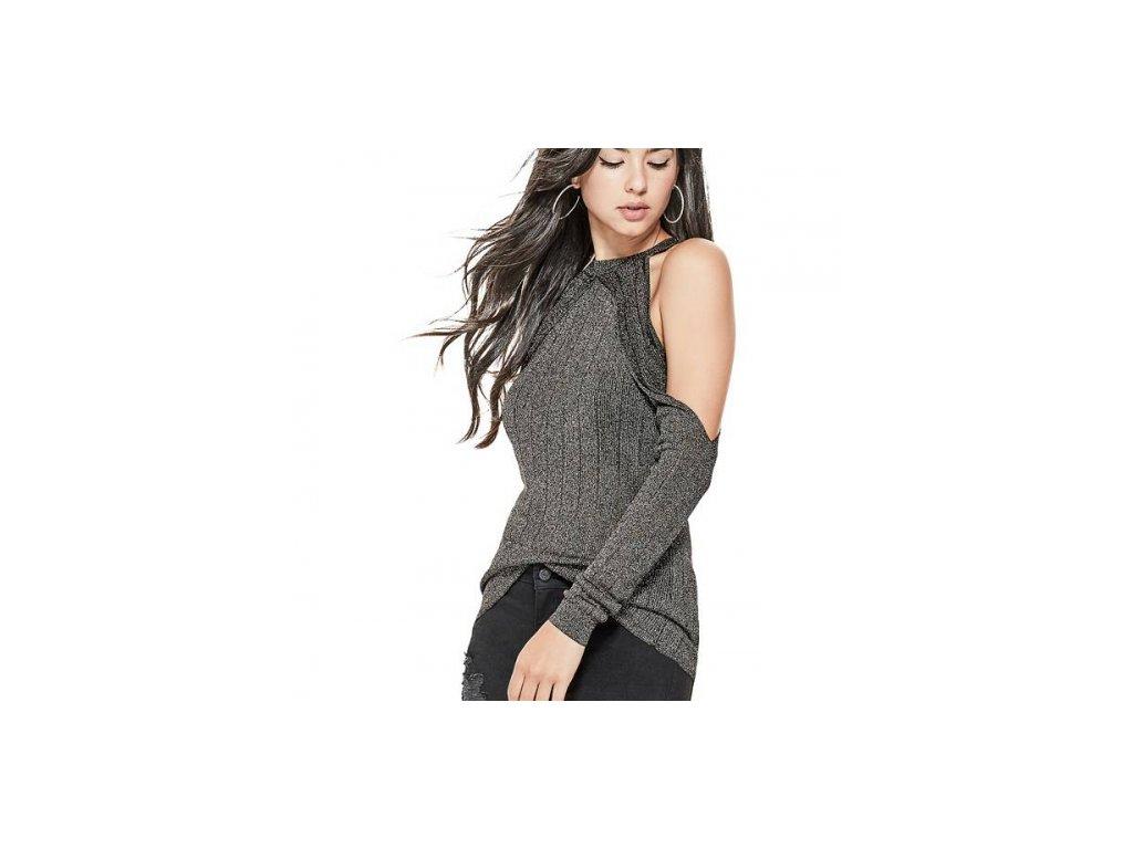 Svetr Guess Sera Cold-Shoulder Lurex Sweater černý