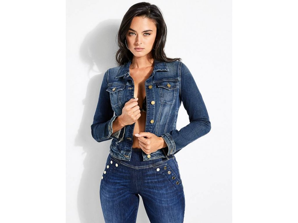 Riflova bunda Guess Denim Trucker Jacket modra dark 1