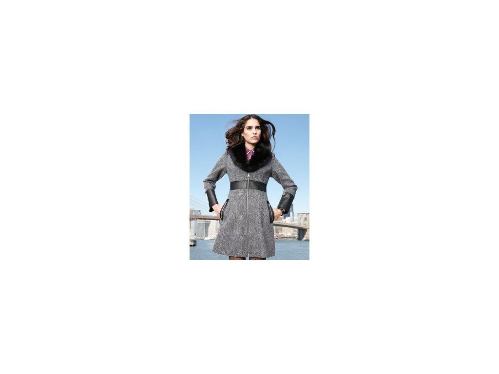 Kabát Guess Faux-Fur-Collar Tweed Walker