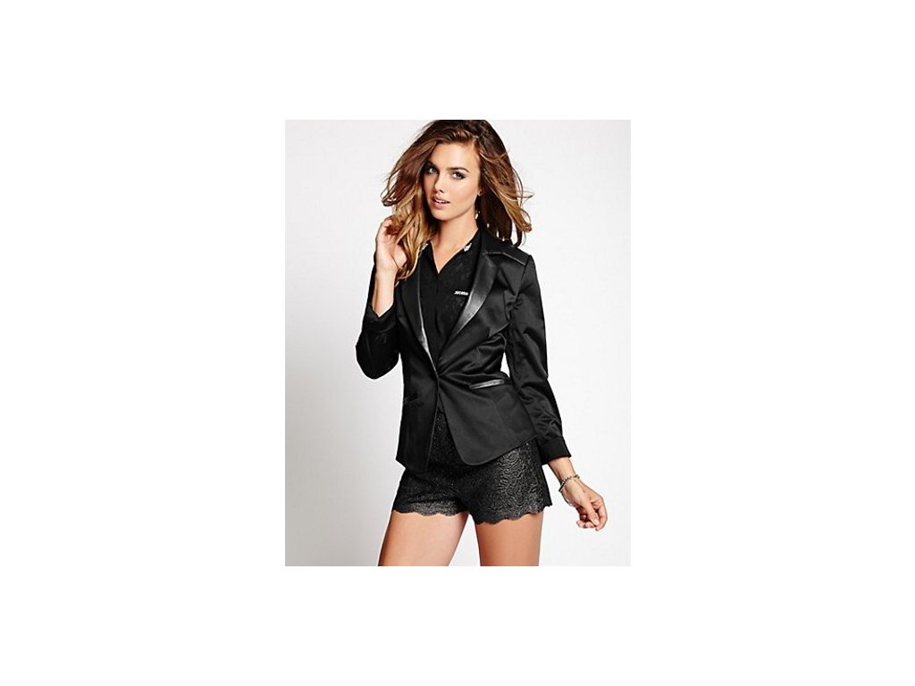 Sako Guess Faux-Leather Contrast Suiting Blazer