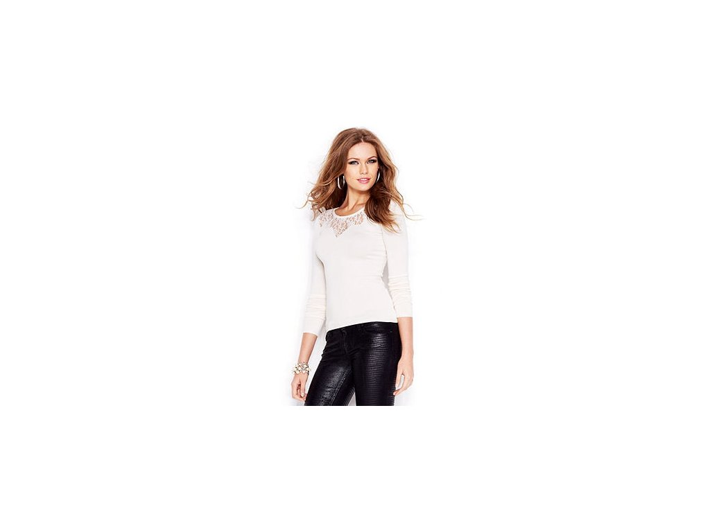 Svetr Guess Long Sleeve Lace Inset Sweater mléčný
