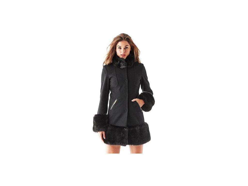 Kabát Guess Long-Sleeve Faux Fur-Trimmed Coat