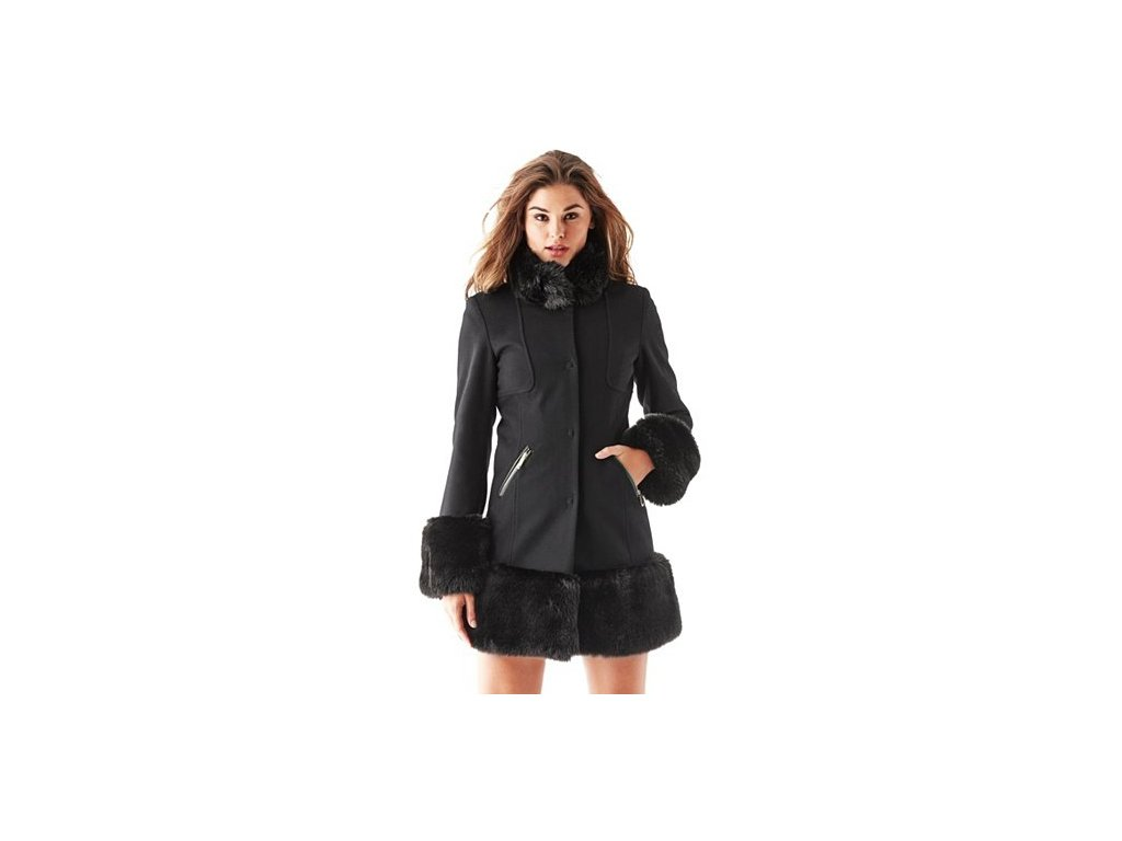 Kabát Guess Long-Sleeve Faux Fur-Trimmed Coat