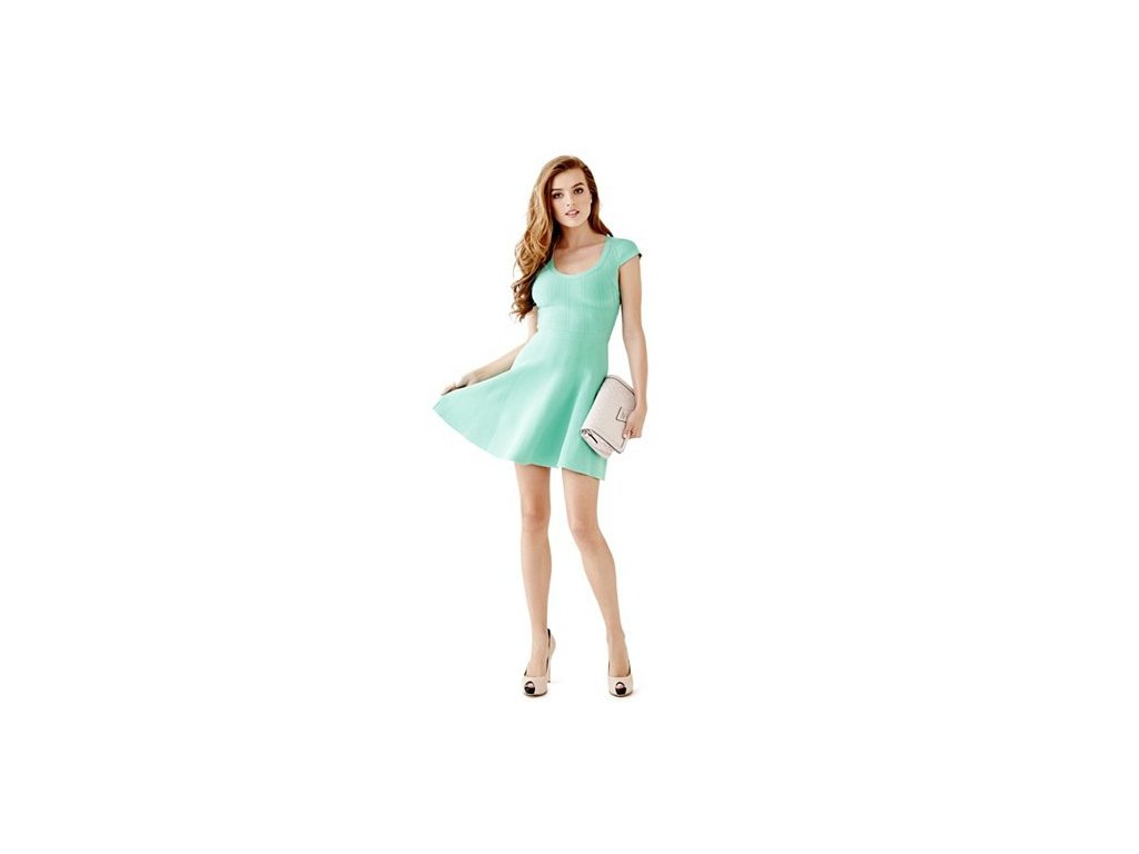 Šaty Guess Cap-Sleeve Fit-and-Flare Bandage Dress zelené
